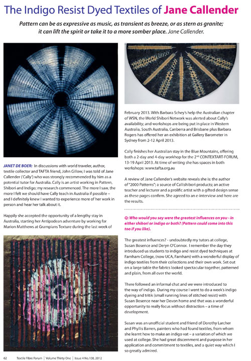 Fibre Forum article featuring Jane Callender and shibori